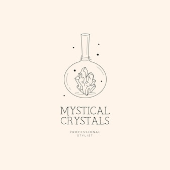 Bottle and crystal logo