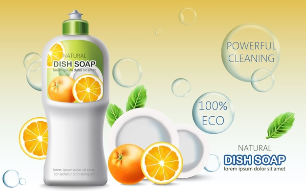 Bottle of dish soap surrounded by bubbles, oranges and plates. ecological powerful cleaning. place for text. realistic
