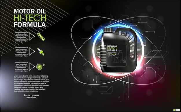 Bottle engine oil on a background a motor-car piston, technical illustrations. realistic 3d image. canister ads template with brand logo blueprints.