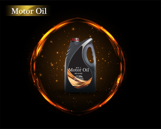 Bottle engine oil on a background a motor-car piston, technical illustrations.