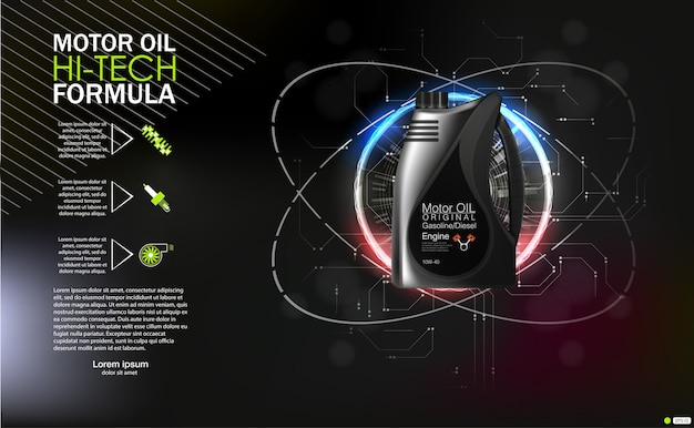 Bottle engine oil canister of engine motor oil, full synthetic clinging molecules protection.