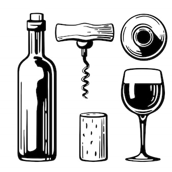 Bottle, glass, corkscrew, cork engraving illustration