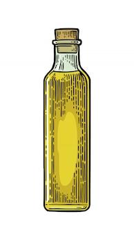 Bottle glass of liquid with cork stopper engraving illustration