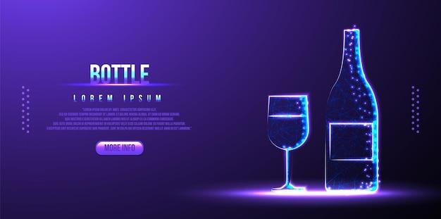 ボトル、ガラス、ワインの多角形の低ポリワイヤーフレームの背景
