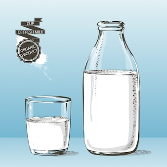 Bottle and glass with milk vector sketch