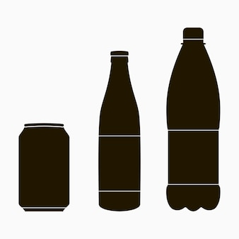 Bottle icons set - metal can, glass and plastic. vector illustration.