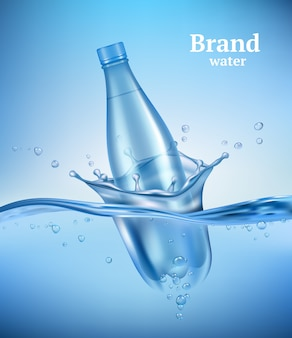 Бутылка в воде. жидкая течет волна с прозрачной бутылкой брызгает капли подводной среды аква вектор реалистичный фон. бутылка напитка в прозрачной воде