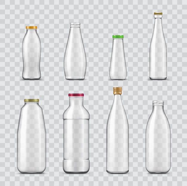 Bottle and jar realistic of glass containers isolated on transparent background.