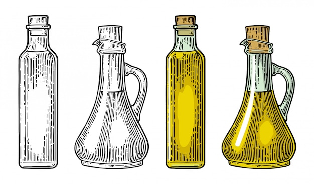 Bottle and jug glass of liquid with cork stopper. olive oil.