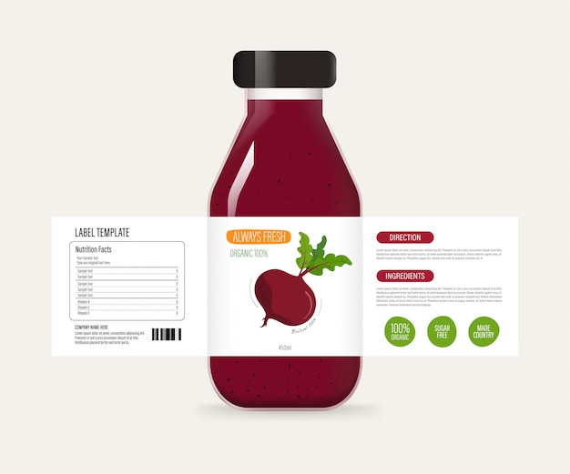 Bottle label of juice smoothie drink.