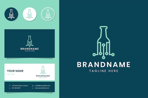 Дизайн логотипа бутылки линии искусства и визитная карточка