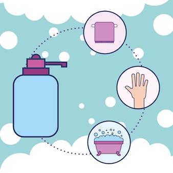 병 액체 비누 타월 손과 욕조 욕실