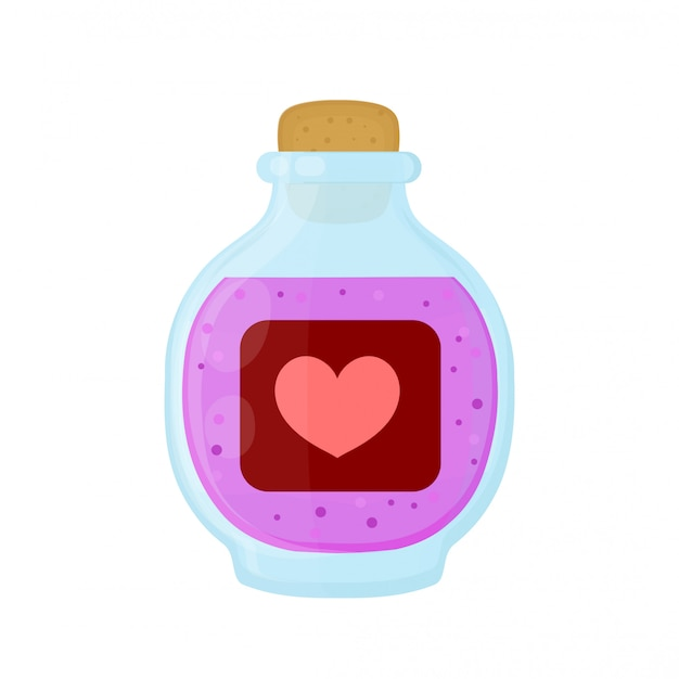 Bottle of magic pink love elixir potion.  flat cartoon illustration icon . isolated on white . love elixir  potion in bottle
