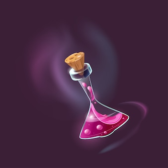 Bottle of magic potion. the magic elixir icon for the game interface.