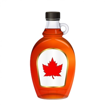 Bottle of maple syrup with label red maple leaf