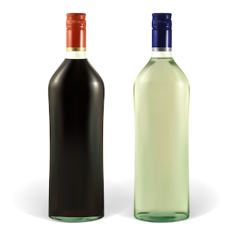 Bottle of martini with blank labels. illustration contains gradient meshes. the label can be removed.