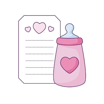 Bottle milk in card with hearts decoration