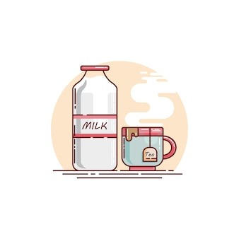 A bottle of milk and a cup of tea