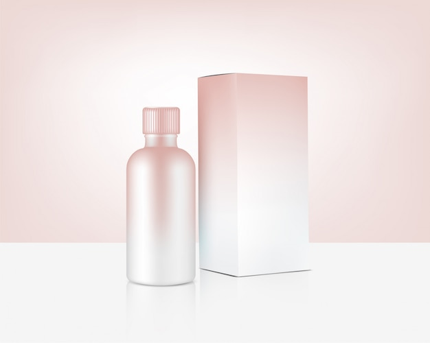 Bottle mock up realistic rose gold cosmetic and box for skincare product