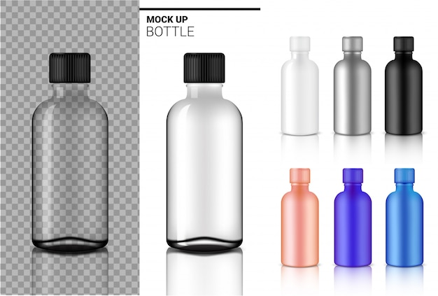 Bottle mock up realistic transparent white, black and glass ampoule or dropper plastic packaging