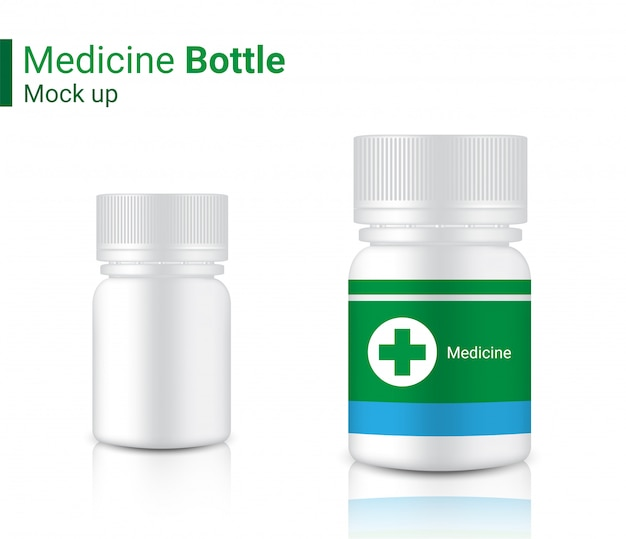 Bottle mockup realistic medicine packaging for capsule and vitamin pill.