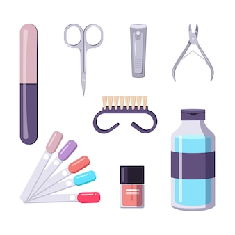 A bottle of nail polish. manicure tools. beauty salon icons. vector flat illustration.