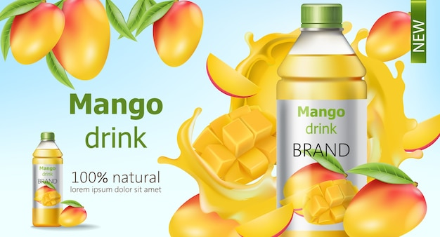 Bottle of natural mango drink surrounded by sliced and whole fruits and flowing juice. place for text. realistic