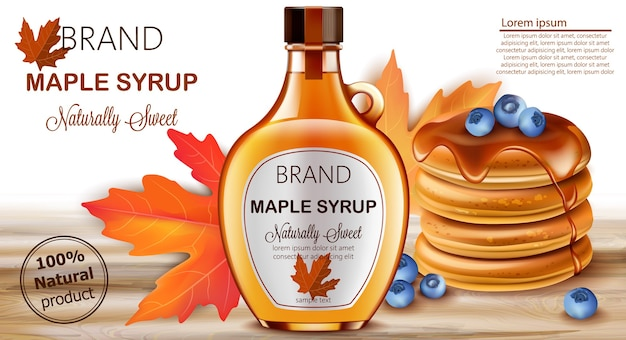Bottle of natural sweet maple syrup with stacked pancakes