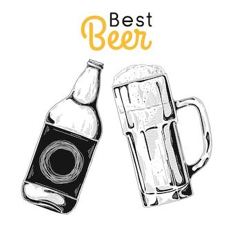 Бутылка пива. стекло с пивом. лучшее пиво. иллюстрация стиля эскиза.