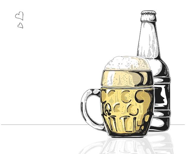 Бутылка пива. стекло с пивом. иллюстрация стиля эскиза.