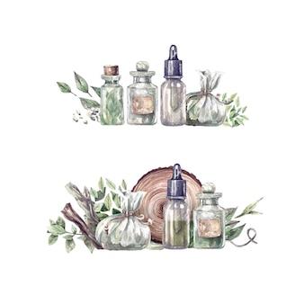 新鮮なハーブとスパイスの手描きの水彩イラストとエッセンシャルオイルのボトル。オーガニック、アロマテラピー、エッセンシャルオイル、お香、野花、ハーブ