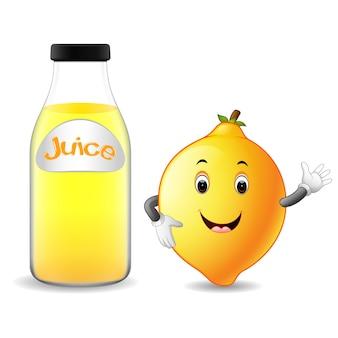 かわいいレモンの漫画とレモンジュースのボトル
