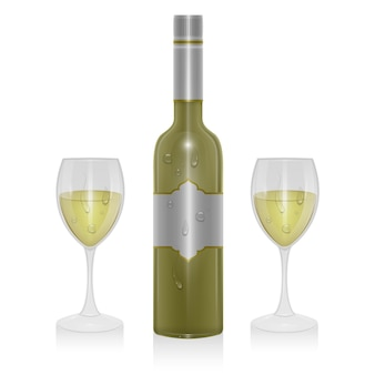 가벼운 와인 한 병과 고립 된 가벼운 와인 한 잔, 현실적인 스타일의 그림