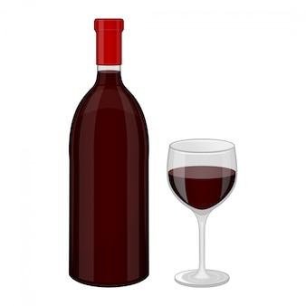 Бутылка красного вина и бокал.