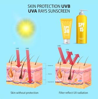 日焼け止めのボトルと日焼け止めローションの有無にかかわらず現実的な分離された皮膚構造