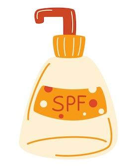 Бутылка крема для загара значок. крем от солнца в тюбике с помпой для защиты кожи и блокирования лучей uva / uvb. для брендинга, упаковки и рекламного дизайна. векторная иллюстрация.