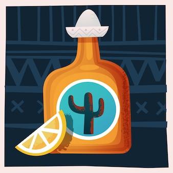 Бутылка текилы с ломтиком лимона векторная иллюстрация