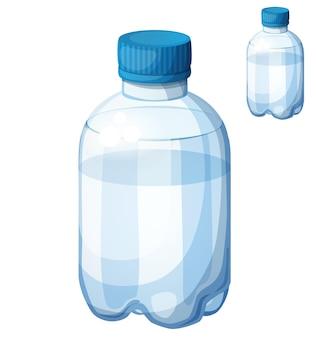 Бутылка воды подробные векторные иконки, изолированные на белом фоне