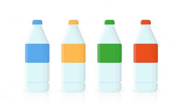 Бутылка воды иконы в плоский стиль изолированы.