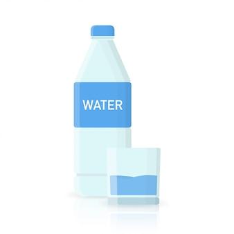 Бутылка воды иконы в плоском стиле