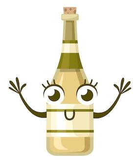 白ワインのボトル、キャラクター。アルコールマスコット。黄色のホイルと黄色のラベルが付いたボトル。白い背景のイラスト。