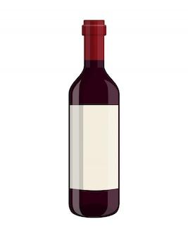 白で隔離されるワインのボトル