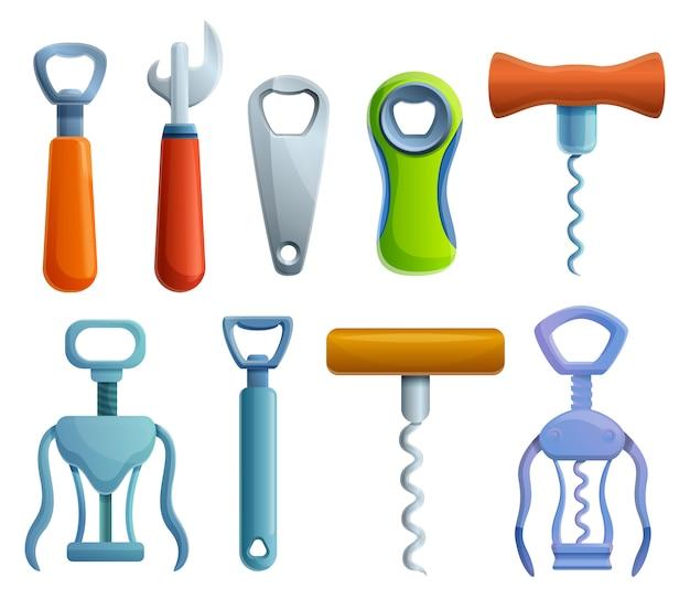 Bottle-opener icons set, cartoon style