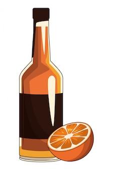 Bottle and orange