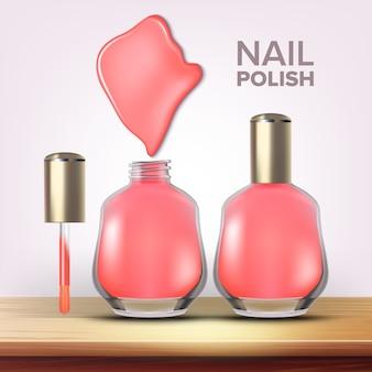 Bottle of pink nail polish female cosmetic