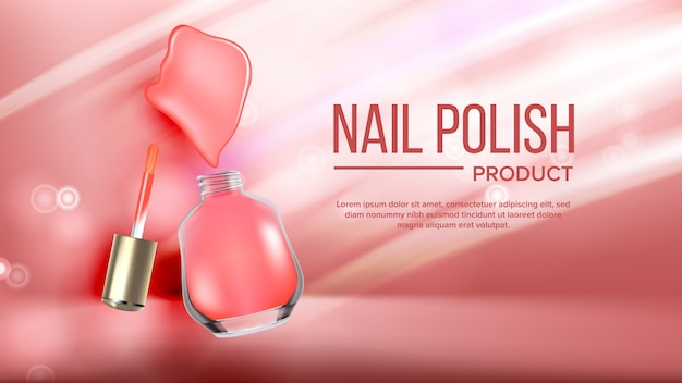 Bottle of pink nail polish product banner