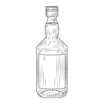 白い背景で隔離のボトルのピスコ。刻印されたスタイルのボトル。