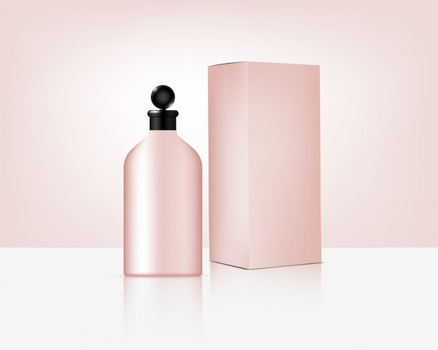 Bottle realistic organic rose gold cosmetic and box for skincare product