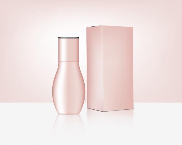 Бутылка реалистичная розовое золото косметика и коробка для ухода за кожей иллюстрации продукта. здравоохранение и медицина.