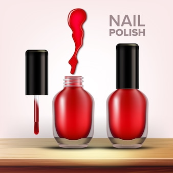 Bottle of red nail polish female cosmetic